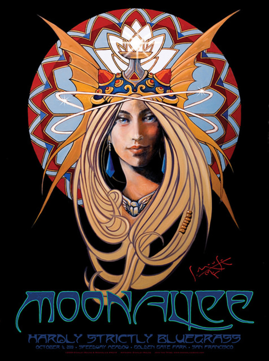 Moonalice Hardly Strictly Bluegrass Festival  Golden Gate Park, San Francisco, California (2009) Poster Art by Stanley Mouse