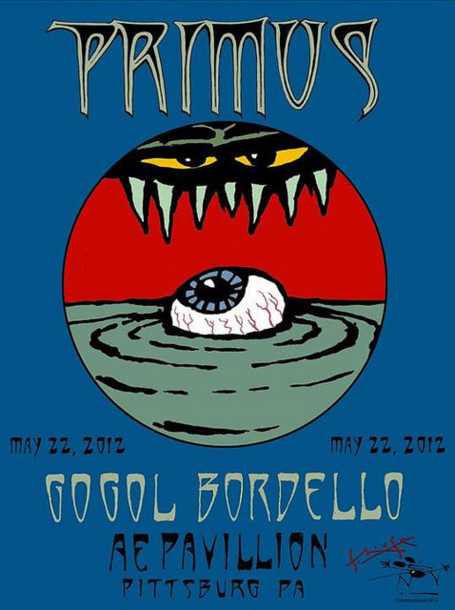 Primus, Gogal Bordello AE Pavilion Pittsburg PA (2012) Poster Art by Stanley Mouse