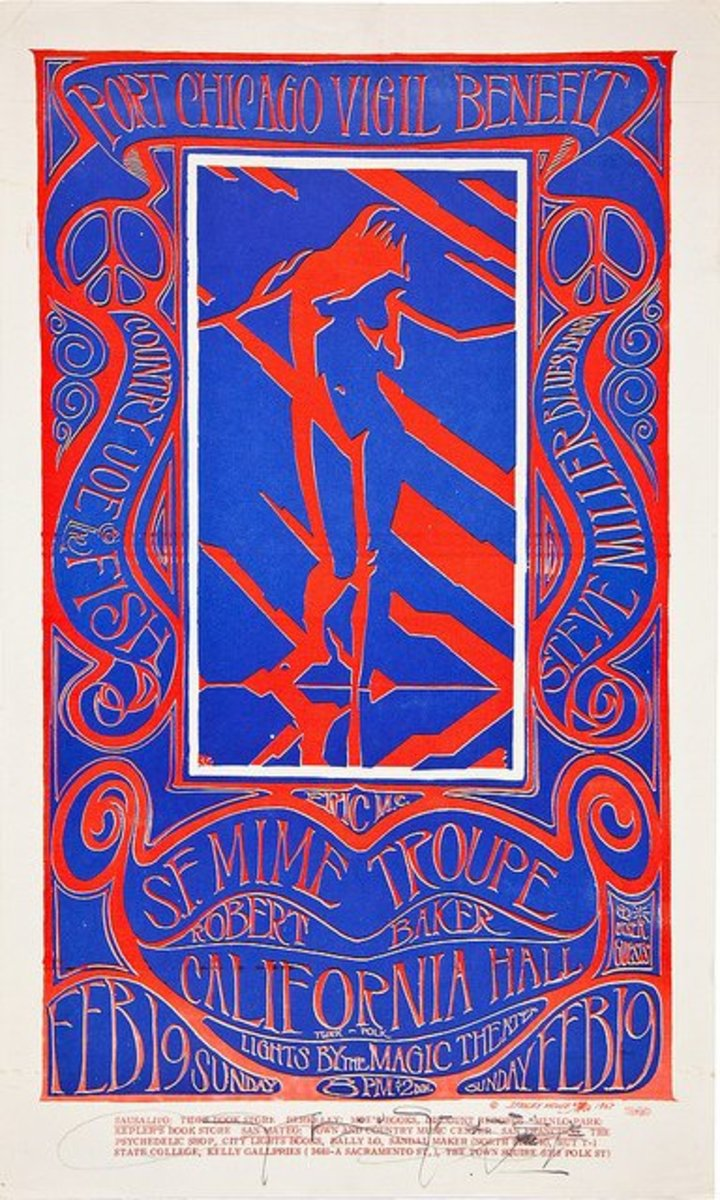 Country Joe & The Fish, Steve Miller, Port Chicago Vigil Benefit California Hall (1967) Poster Graphics by Stanley Mouse, Hand Signed by Stanley Mouse