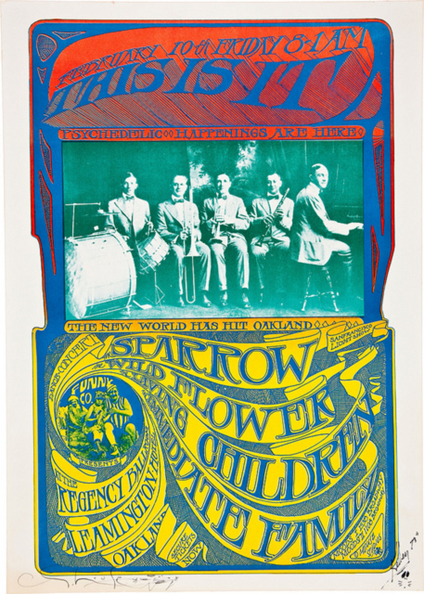 Sparrow, Wildflower, Living Children, Regency Ballroom (1967) Poster Graphics by Stanley Mouse, Poster Hand Signed by Mouse