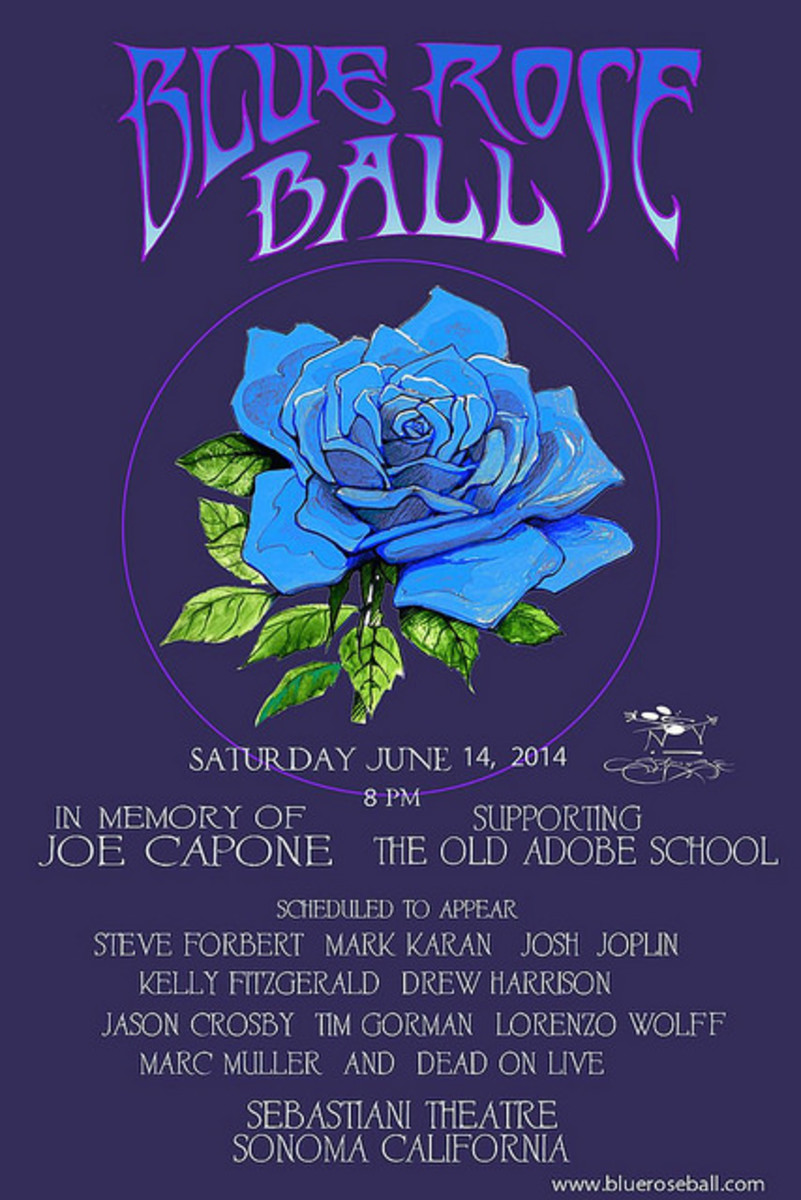 Blue Rose Ball In Memory of Joe Capone Sebastiani Theater Sonoma California (2014) Poster Art by Stanley Mouse