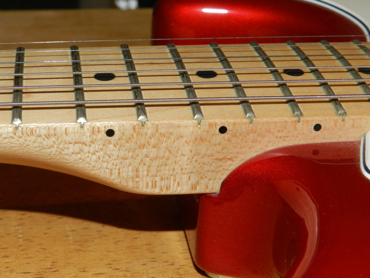 A one-piece maple neck and fretboard on a Fender Stratocaster.