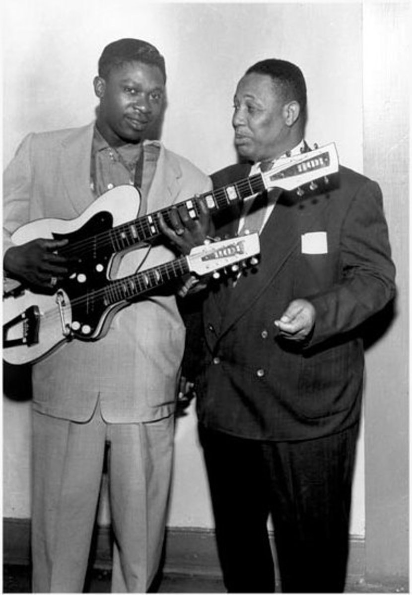 "A young B.B. King, with Andrew ""Sunbeam"" Mitchell, who owned and operated Club Handy and other establishments on Beale Street."