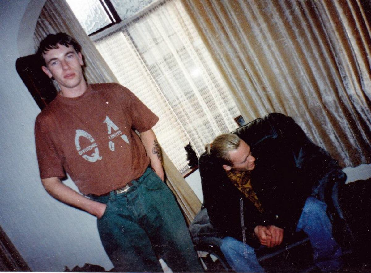 My friend Andy, from Blackpool, on the right, before a night out (1990).