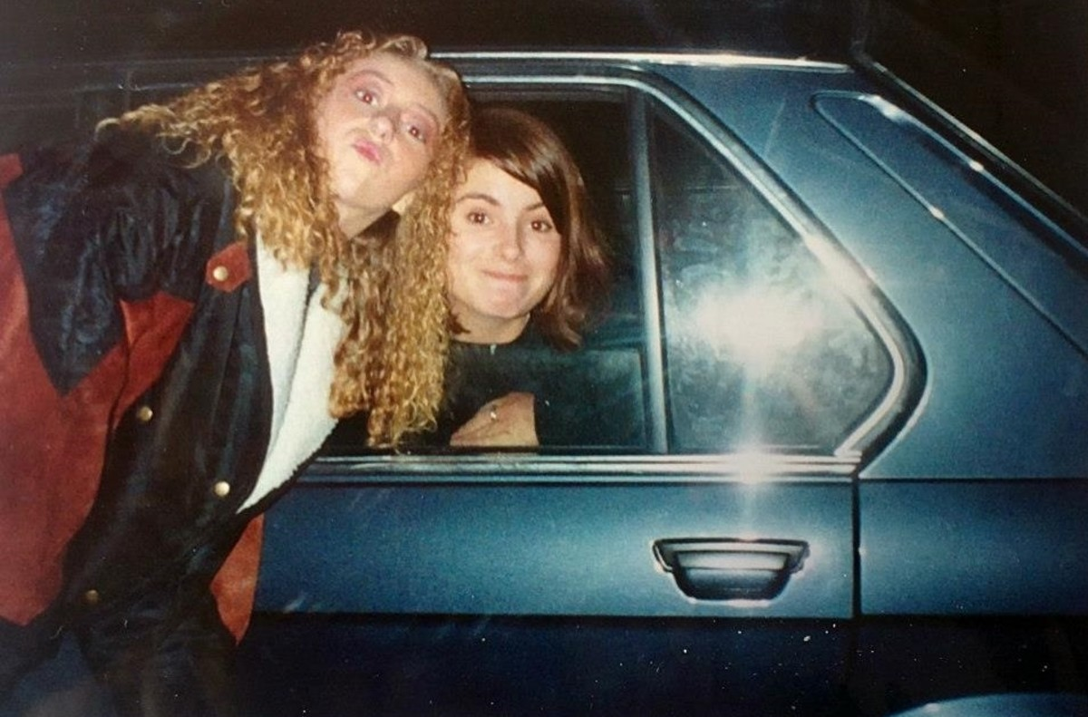 Julia and Carol in my BMW outside Monroes (1991).