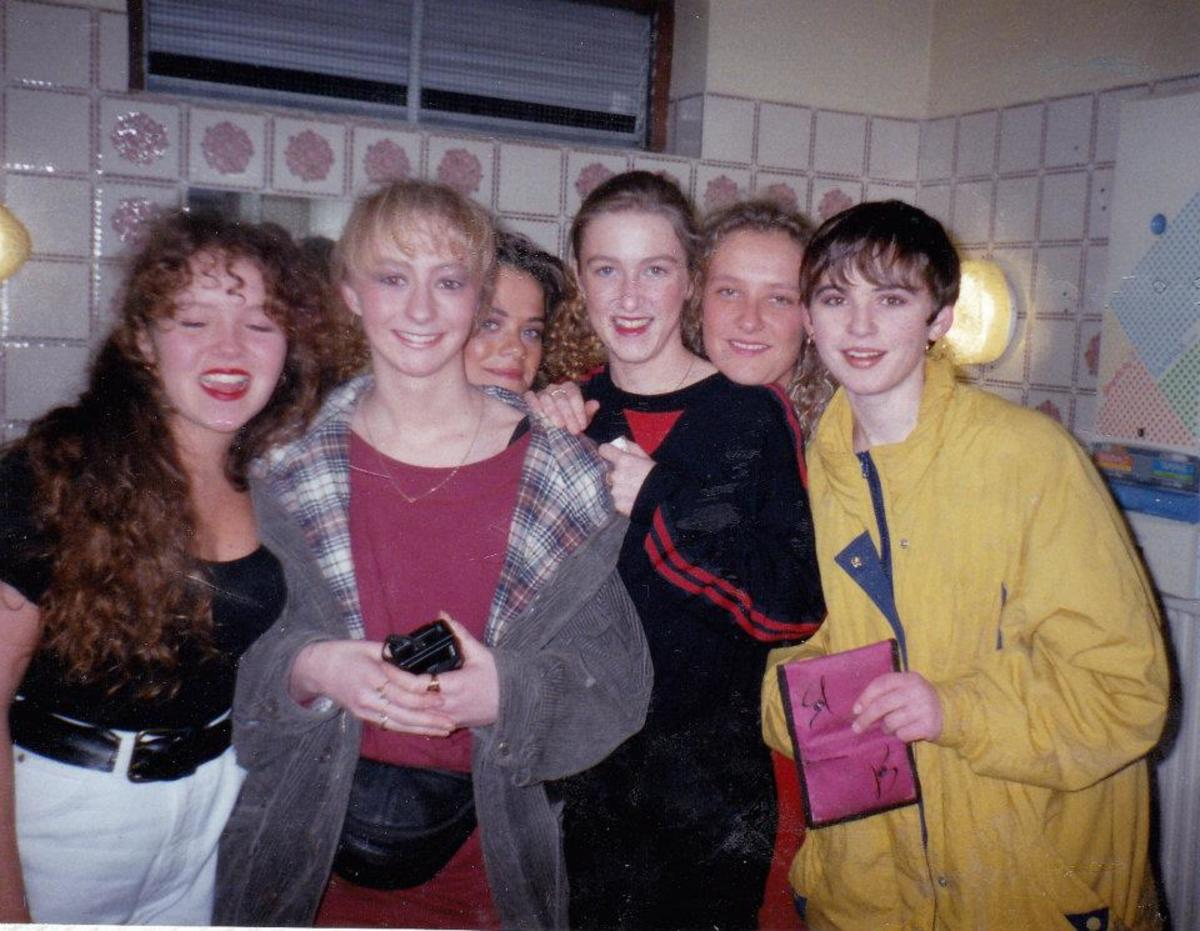 In the ladies' toilets at Monroes (always a popular meeting place!) in 1990.