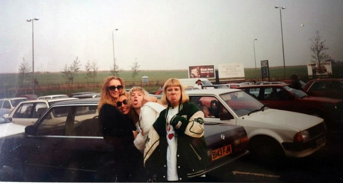 Trowel services on the M1 after Andromeda - Julia is on the left, with me next to her and Adele on the right. The car we were leaning on was my BMW, which I adored driving.