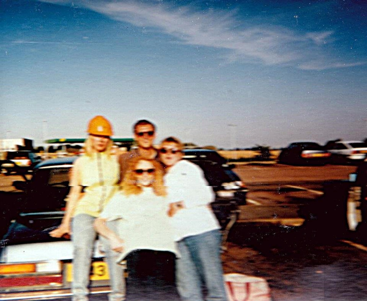 At Trowel Services on the M1 after Andromeda, 31 August 1991. Adele on the left (in workman's helmet!) and Julia at the front.