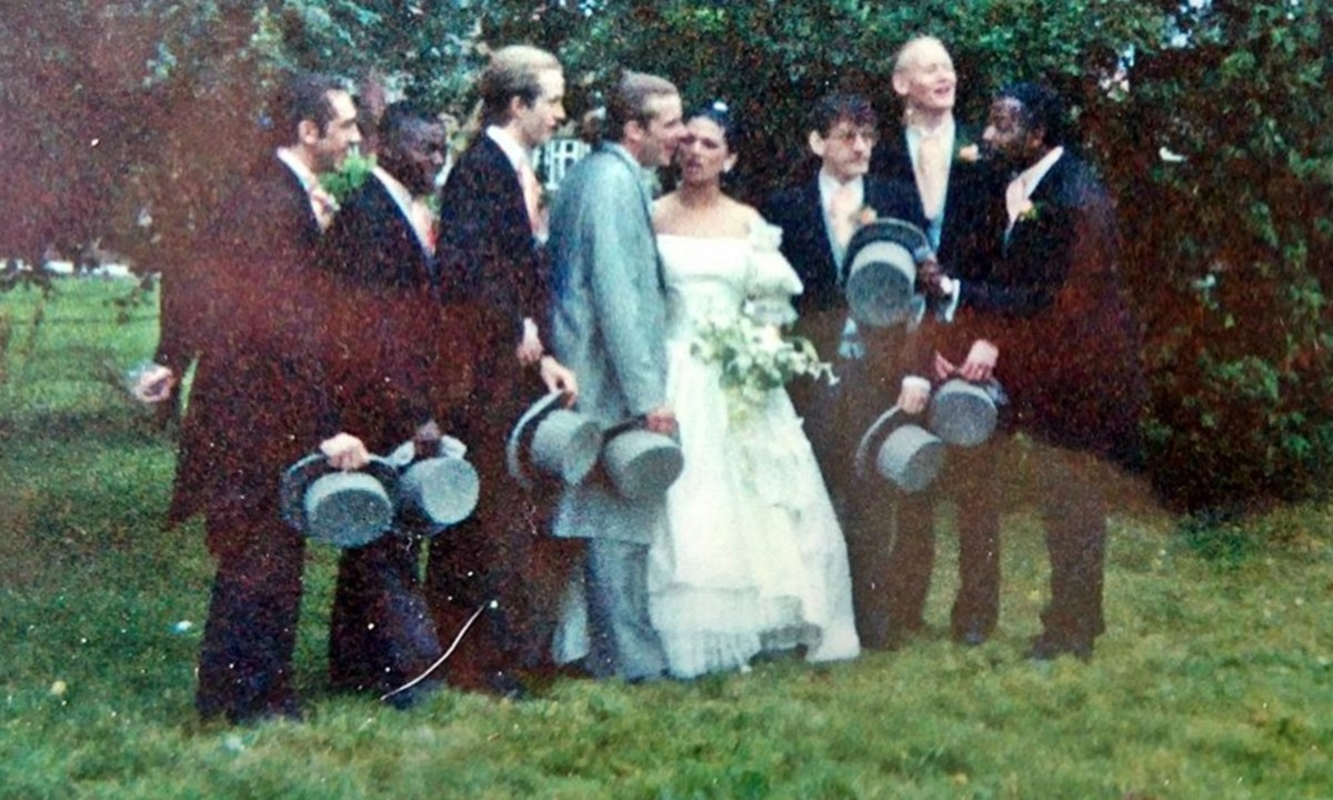 Andy and Jackie's wedding in 1991 - my friends Pete (third left) and James (second right) were ushers.