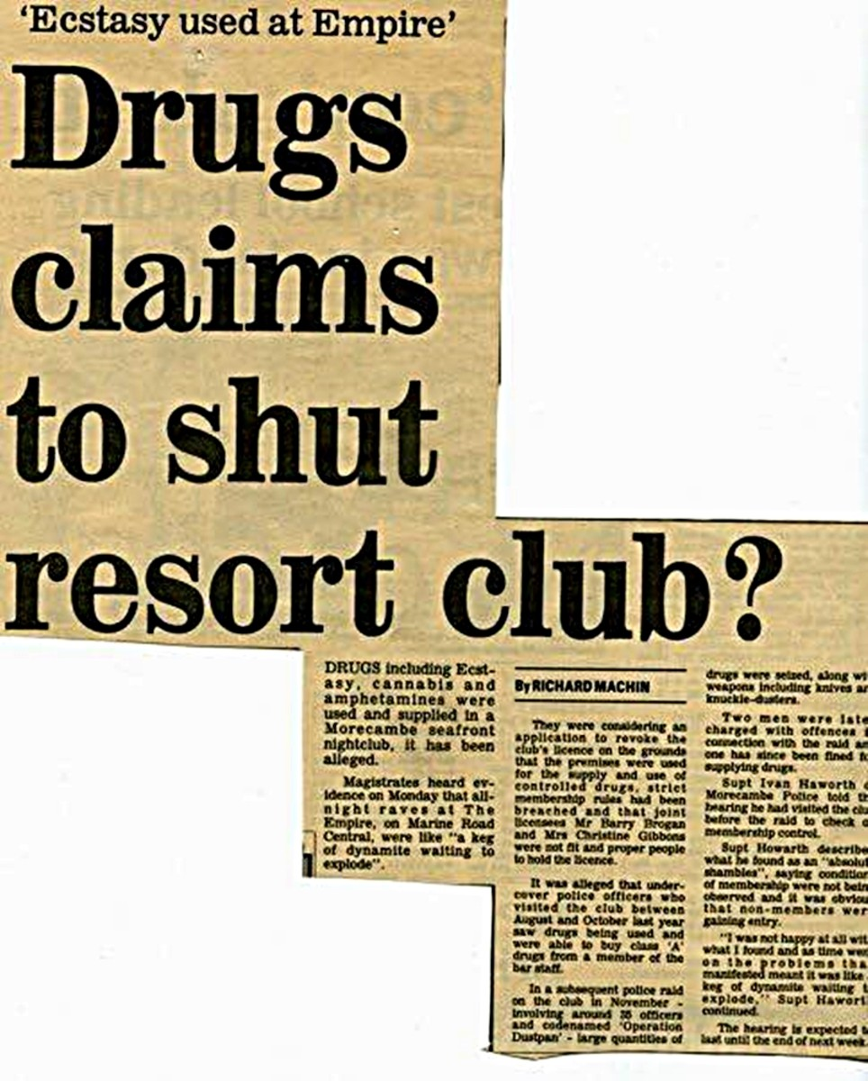 The beginning of the end for the Empire: A newspaper report detailing how police had applied to magistrates to have the club's licence revoked.