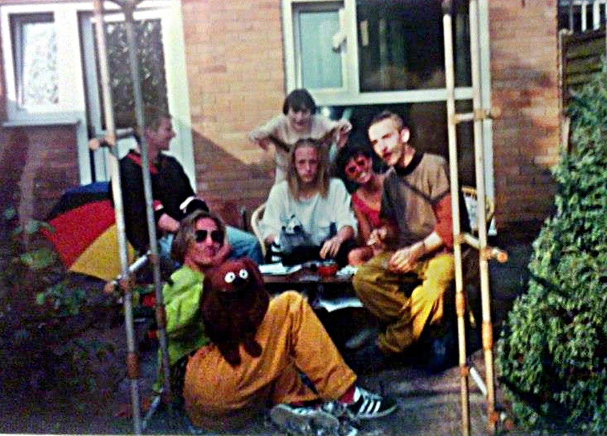 Party in Standish (July 1991) - my friend from Blackpool, Dave Clough, is in the middle, with the long hair, while my friend Dave Roberts is on the right, in yellow trousers.