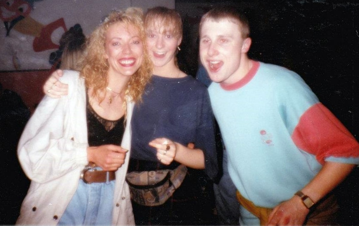 Rochdale Up Front all nighter (1991) - me with Julia and Andy