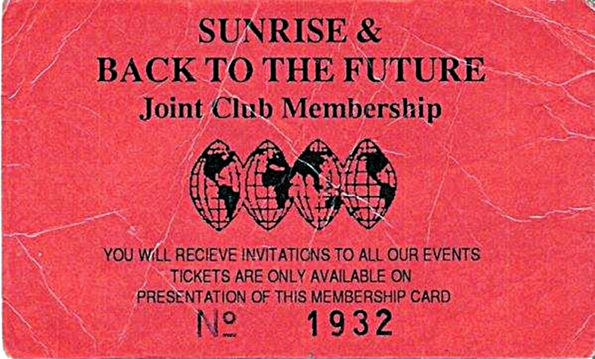 Sunrise and Back to the Future membership card (1989)