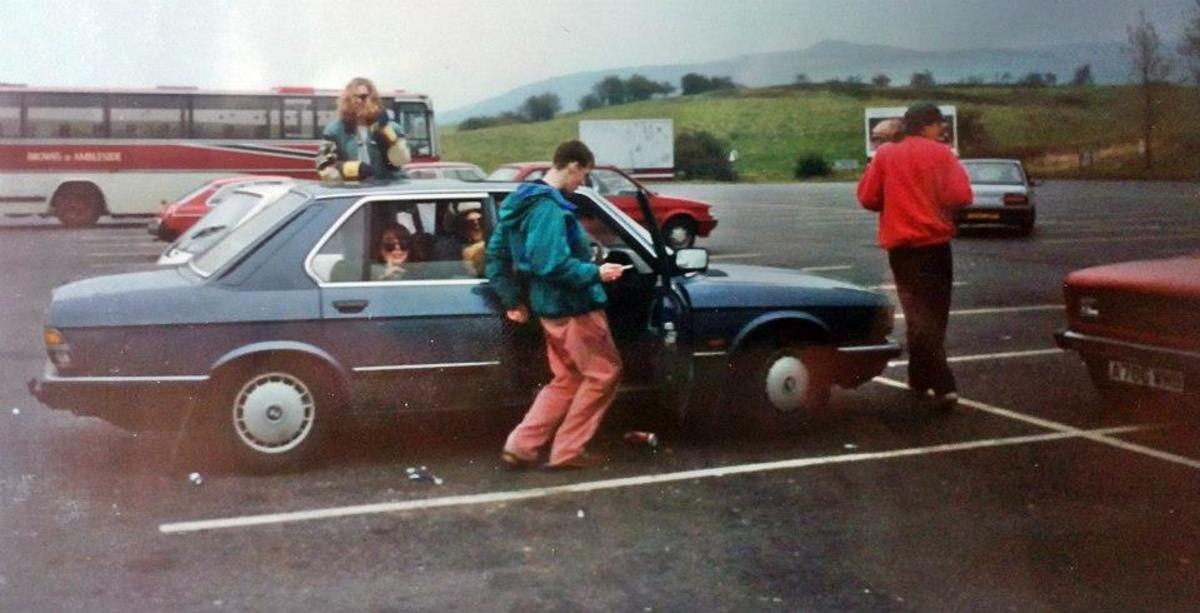 On the motorway services with my much-loved BMW (1991).