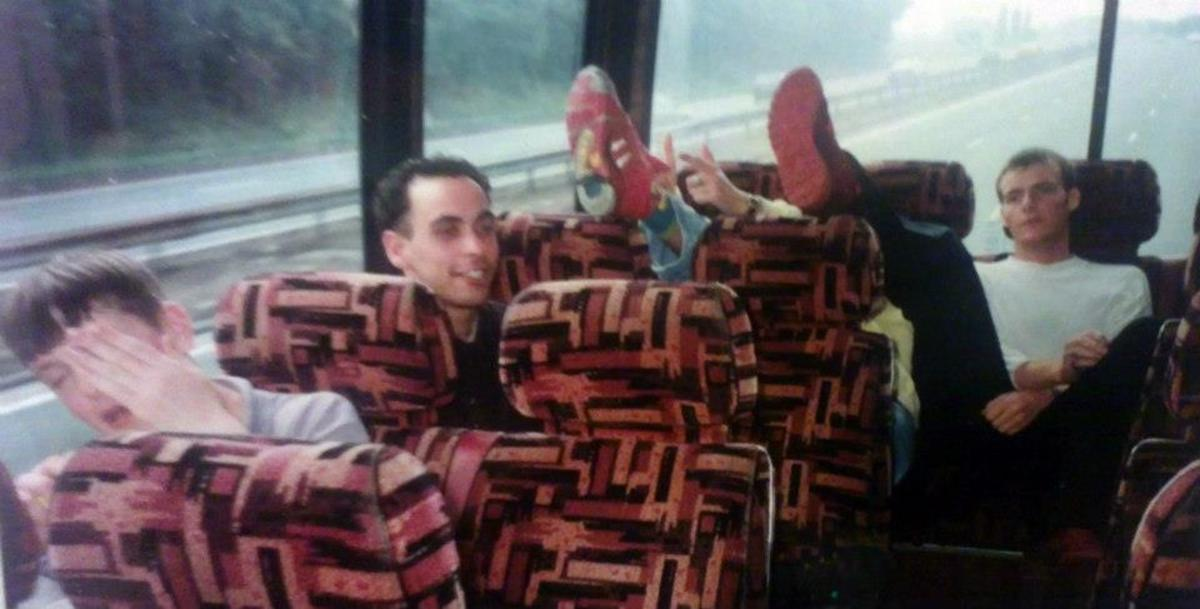 On the coach on the ride home from Eclipse (June 1991).