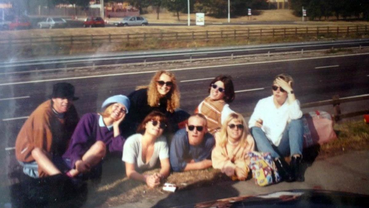 On the motorway services (M6) on the way  home from Amnesia House in '91 - Julia at the back with Carol and Justin in front, Stuart next to Julia at the back (striped top) and Adele in front of Stuart.