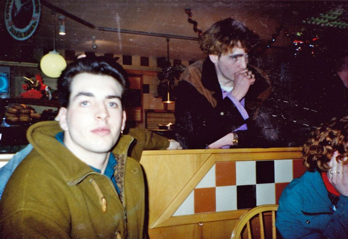 Dom (left) and Mark at Charnock Richard (1990).