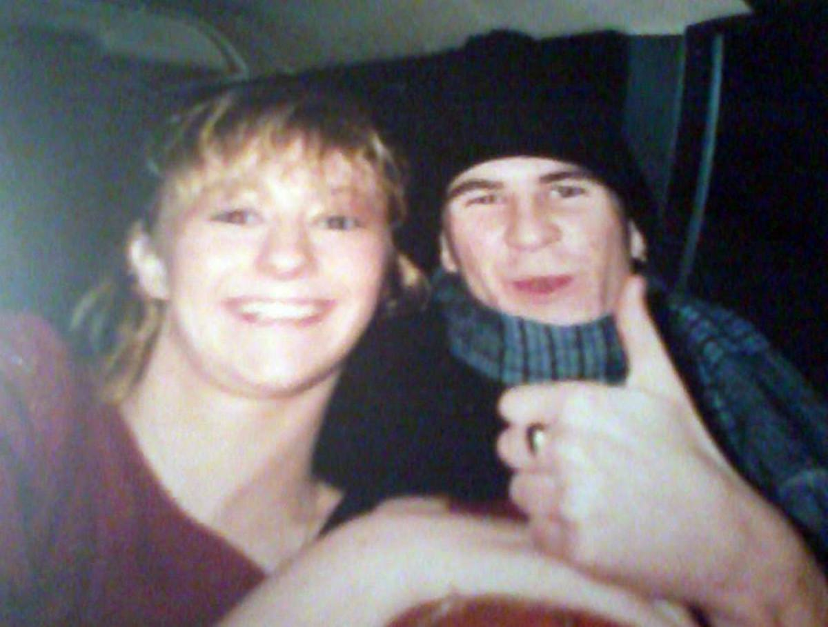 Julia and Nigel in the back of my car (1990).