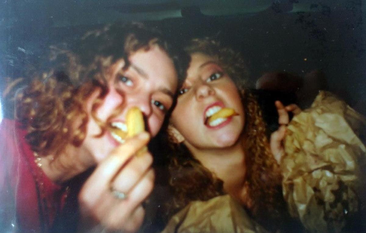 Mandy (left) and Julia eating chips in the car outside Stalybridge Up Front (November 1991) when we hadn't managed to get in as we arrived too late!