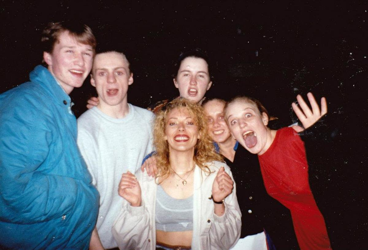 Me at the front with various friends (Emma directly behind me) at a rave.