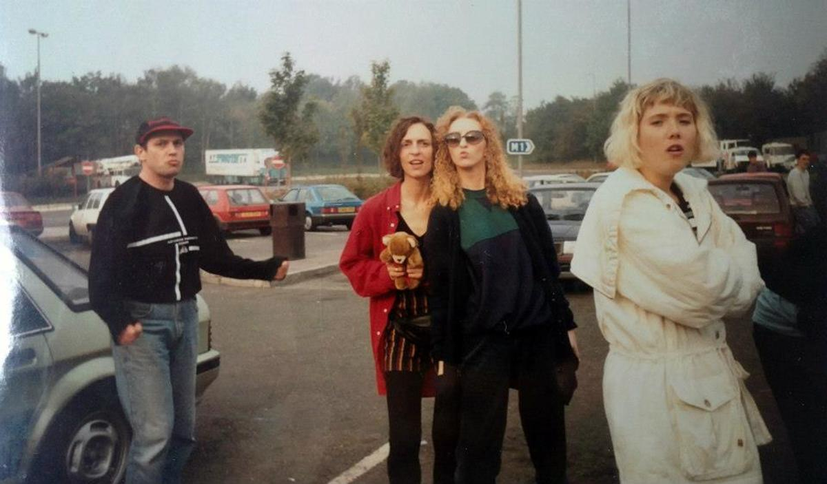 Julia on the motorway services after Amnesia House with some friends we'd met from Barnsley.