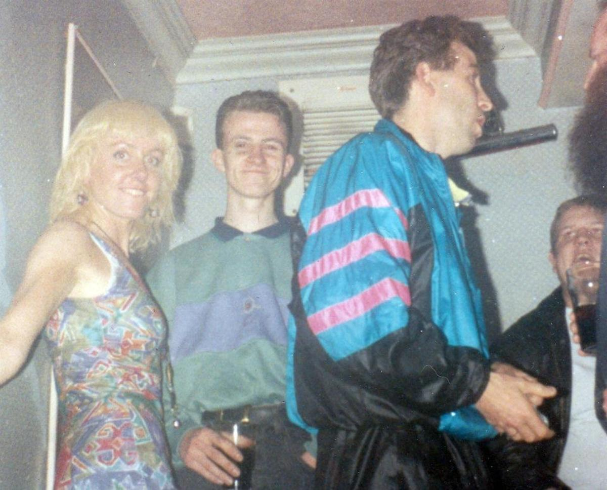 My friend Joy, from Blackpool, with Andy Senior in the centre and Glen on the right, at Monroes (1990).