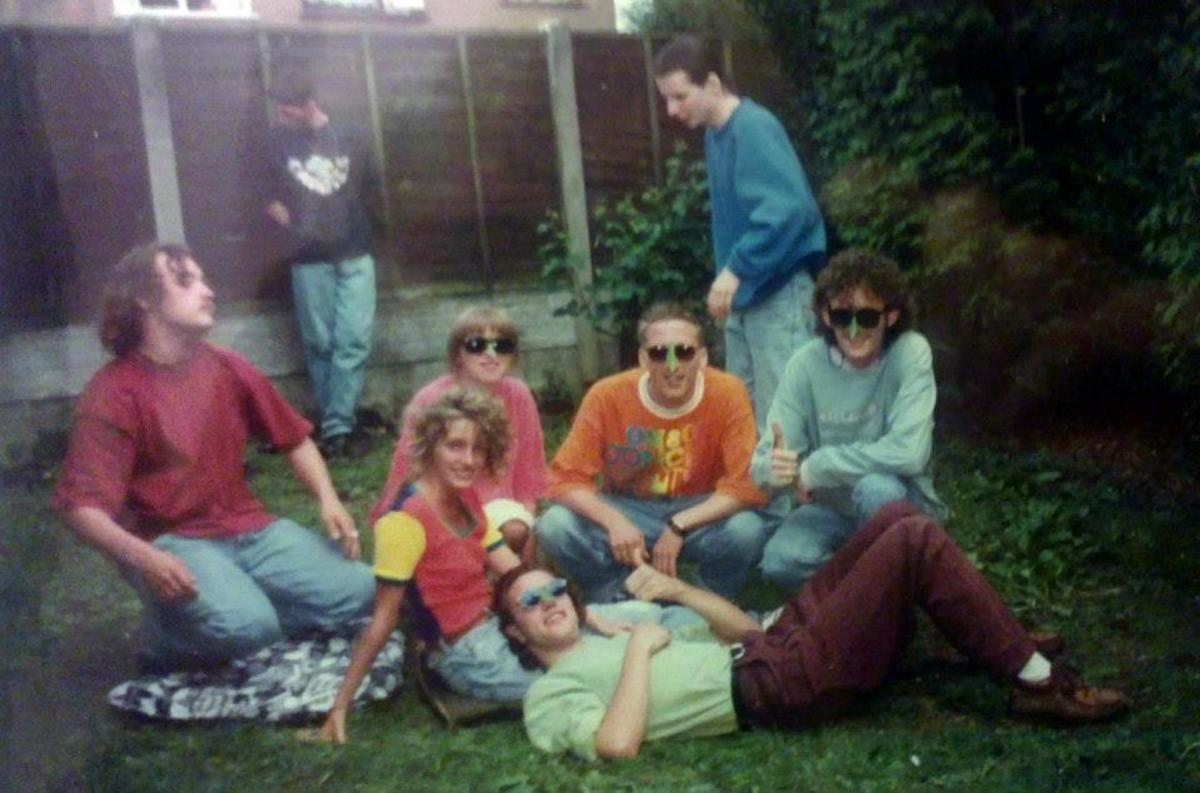 Steve's party in Standish - relaxing in the back garden on a Sunday afternoon in July '91.