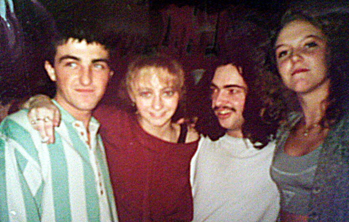 Julia with Andy (second right) in 1991.