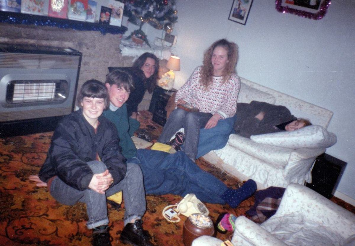 At our friend Vanessa's house (she is pictured, second right) in Blackpool after a night's clubbing.