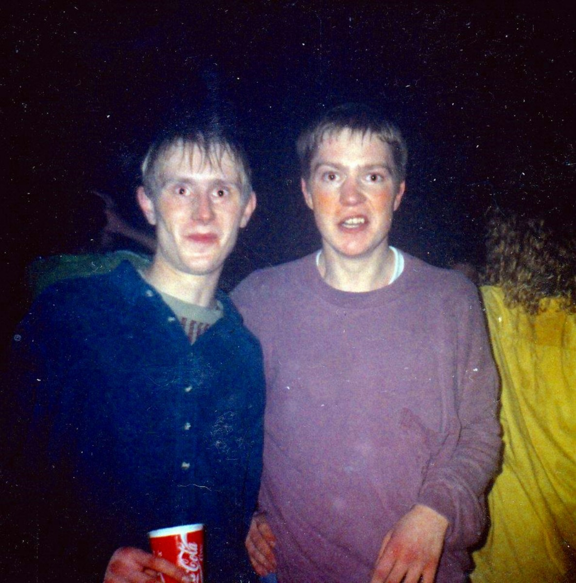 Andy, left, with Paul at Up Front all nighter, Rochdale, March 1991.