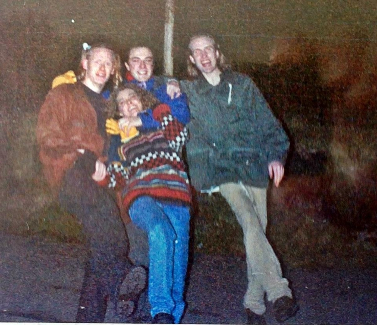 From left: James, Lee and Pete, with Mandie.