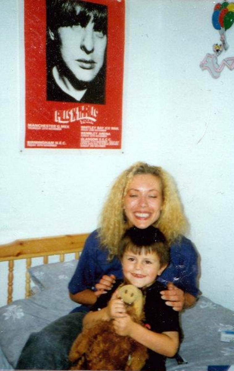 Me at Carol's house with her little brother, Cameron (1991).