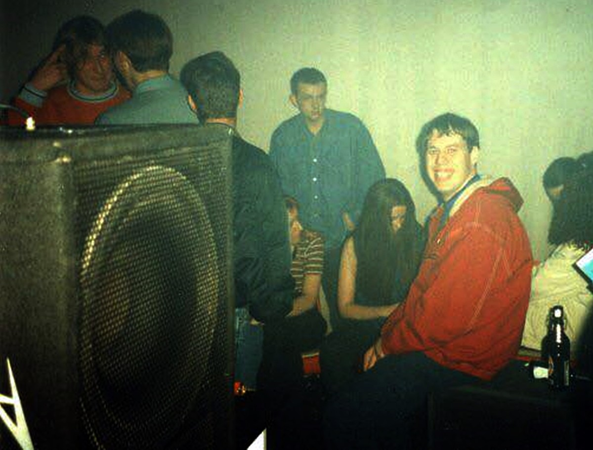 Clubbers at Morecambe Empire (1992) next to those massive speakers!