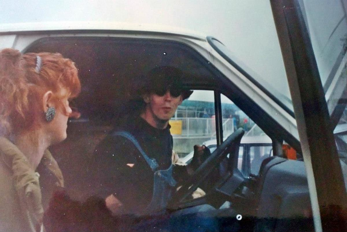 On the motorway services one Sunday in summer 1991.