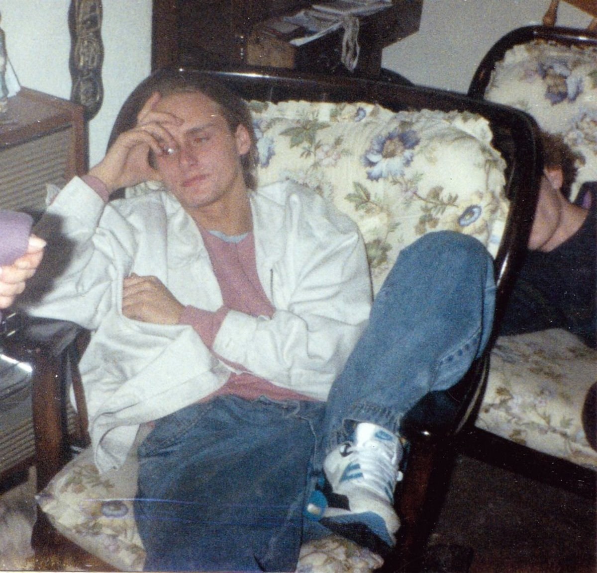 Nicky chilling out at a party (1991).