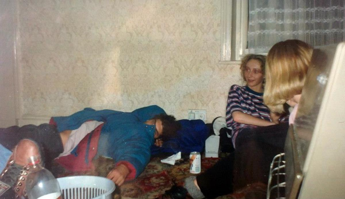 House party in Accrington in 1991 - my friend Julia in the striped t-shirt.