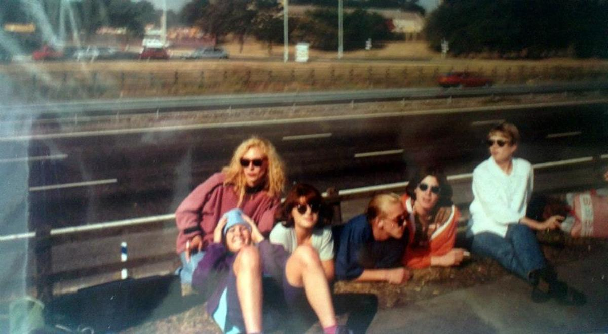 Motorway services on the M6 on the way home after Amnesia House (September 1991). I'm at the back with Carol in front of me (in sunglasses) with Justin (blue jumper) and Stuart (orange jacket).