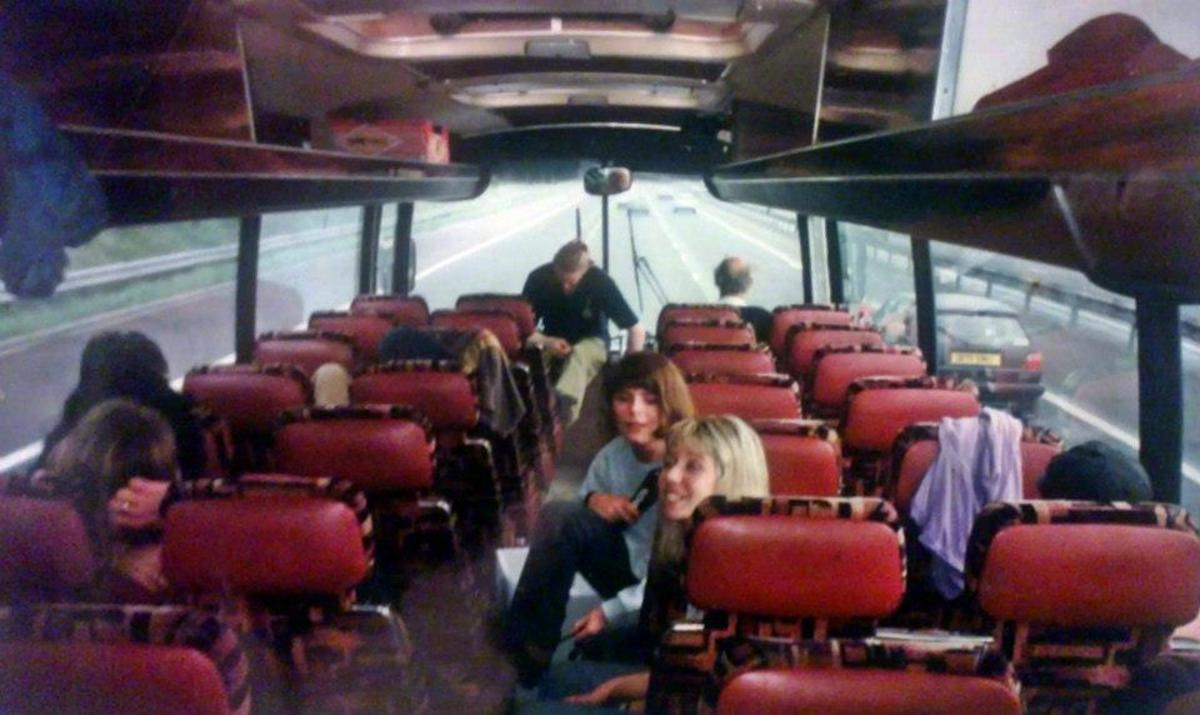 On the coach on the way home after our first trip to Eclipse - my friends Adele (blonde hair) and Carol are pictured on the right (June '91).