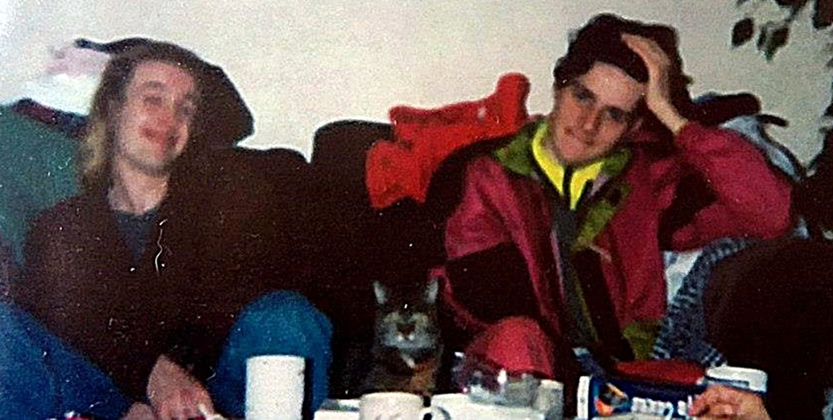 Pete on the left, with Julian, a friend from Settle, Yorkshire, at Mandie's house - April 1992.