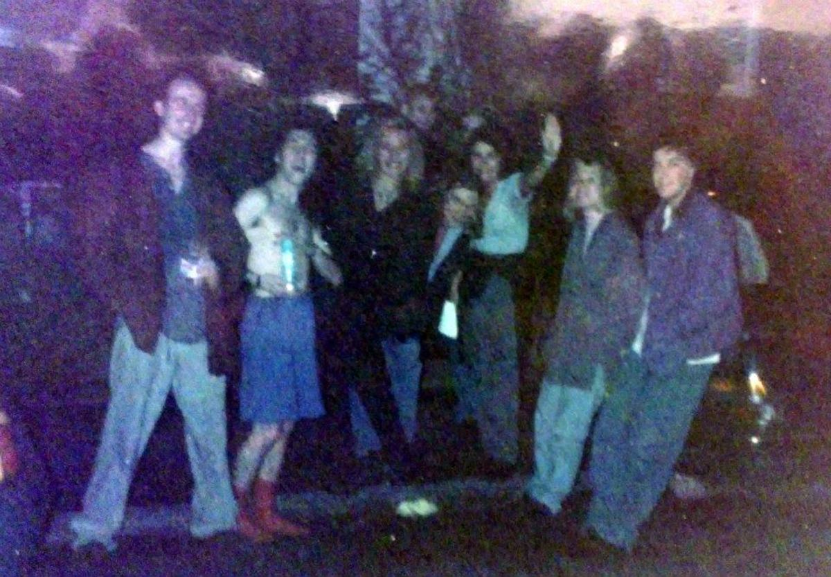Saturday nights became legendary: Here is a crowd of us outside Monroes, on the carpark (1991).