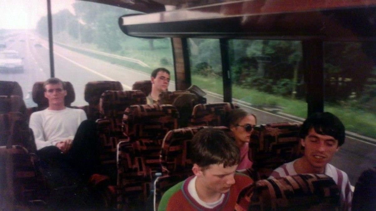 Worn out on the coach after our first trip to Eclipse (June 1991).