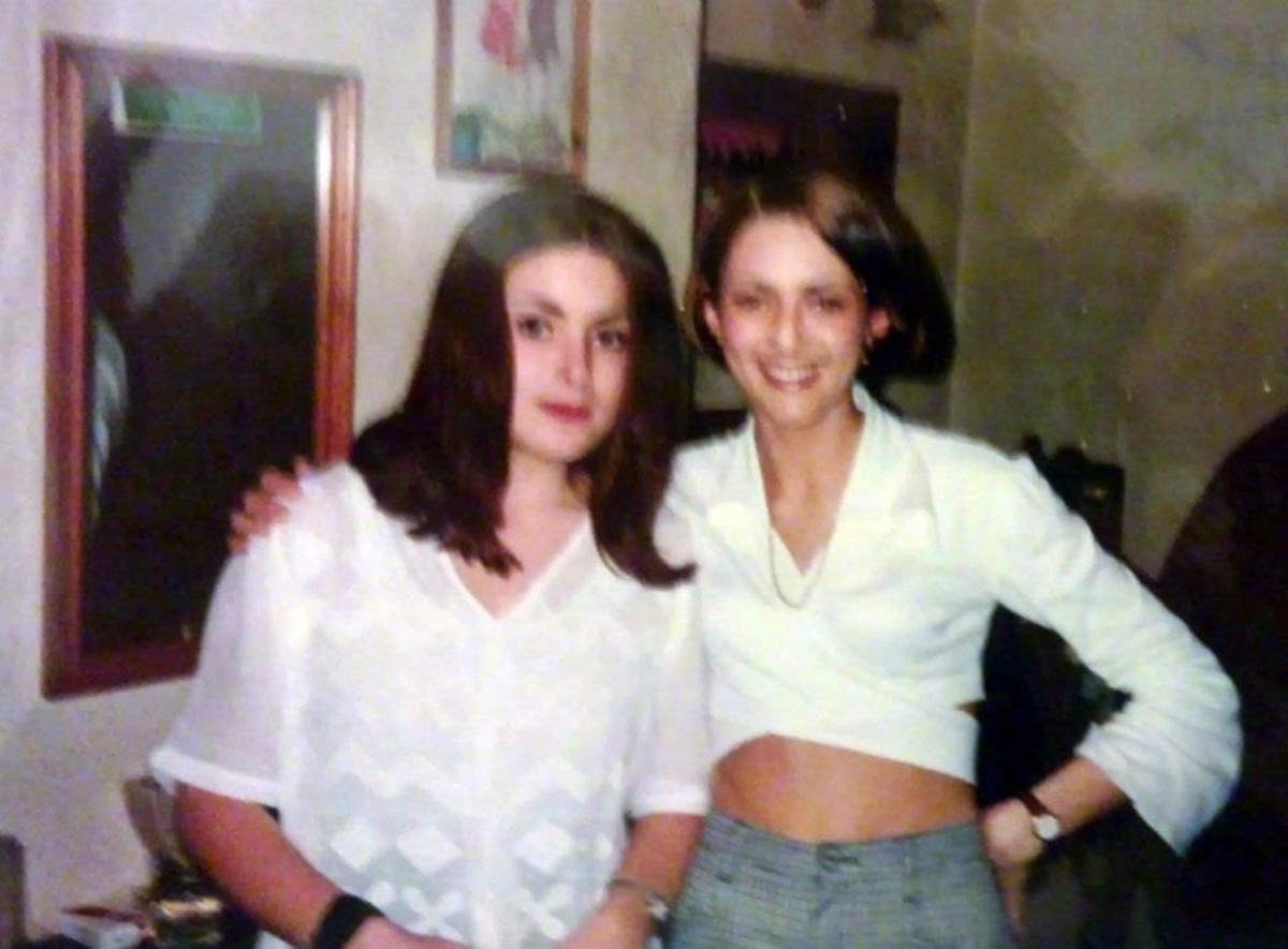 My friends Carol (left) and Mandie from Blackburn, whom I met in 1990. I am still friends with both of them to this day.