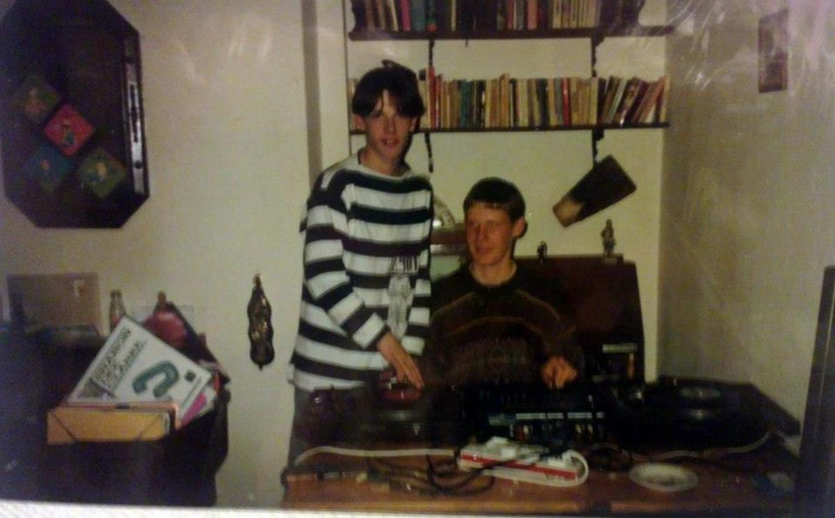Danny on the decks at someone's house on a Sunday (1991).