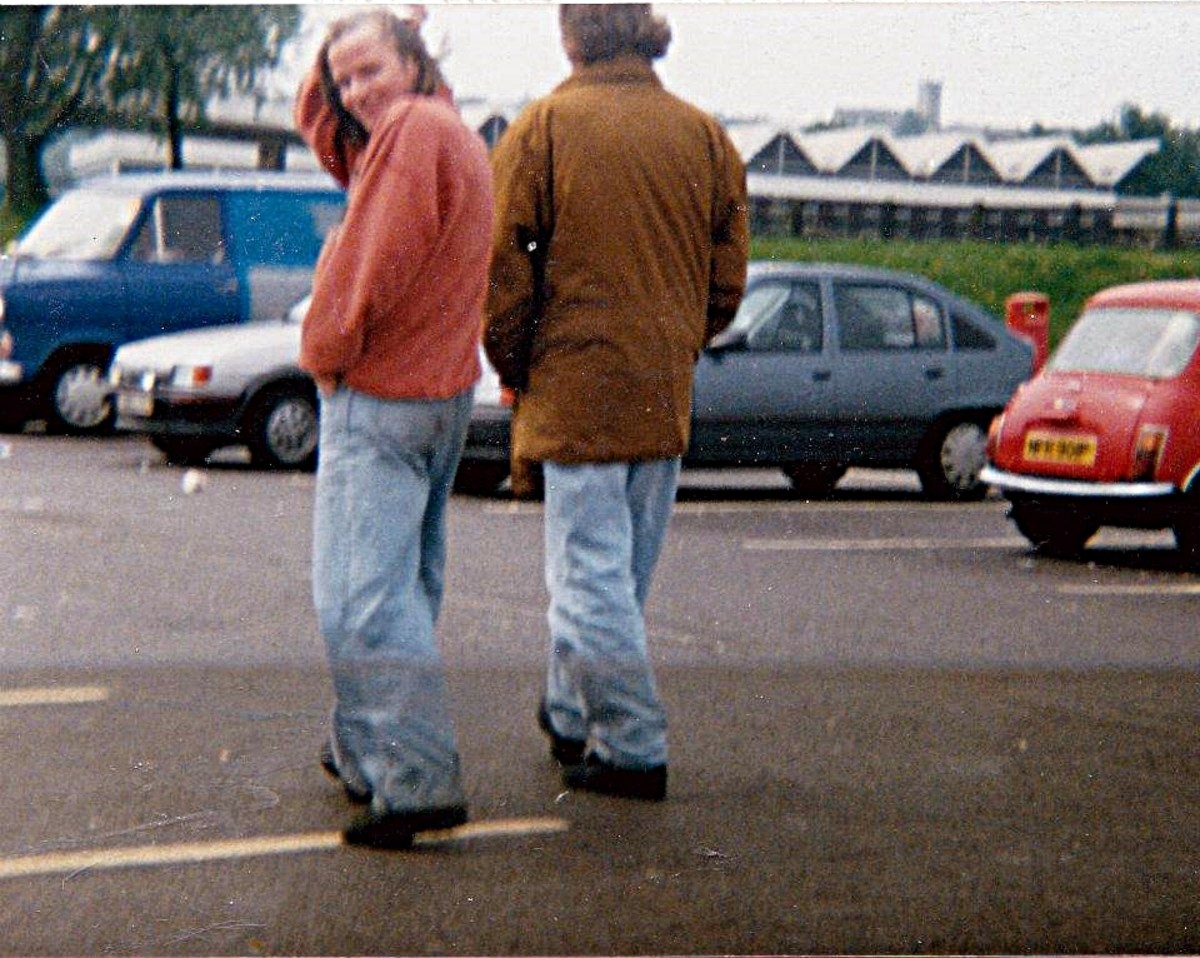 Lou (left) and Aki on Anderton services, M61, in May 1991.
