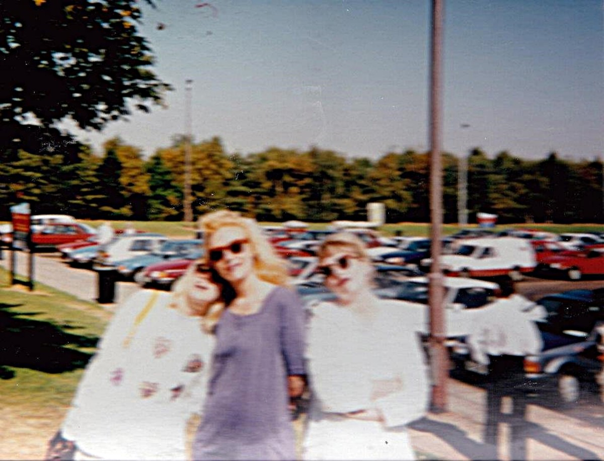 At Trowel Services on the M1 after Andromeda, 31 August 1991. I am in the middle with Adele on the left.