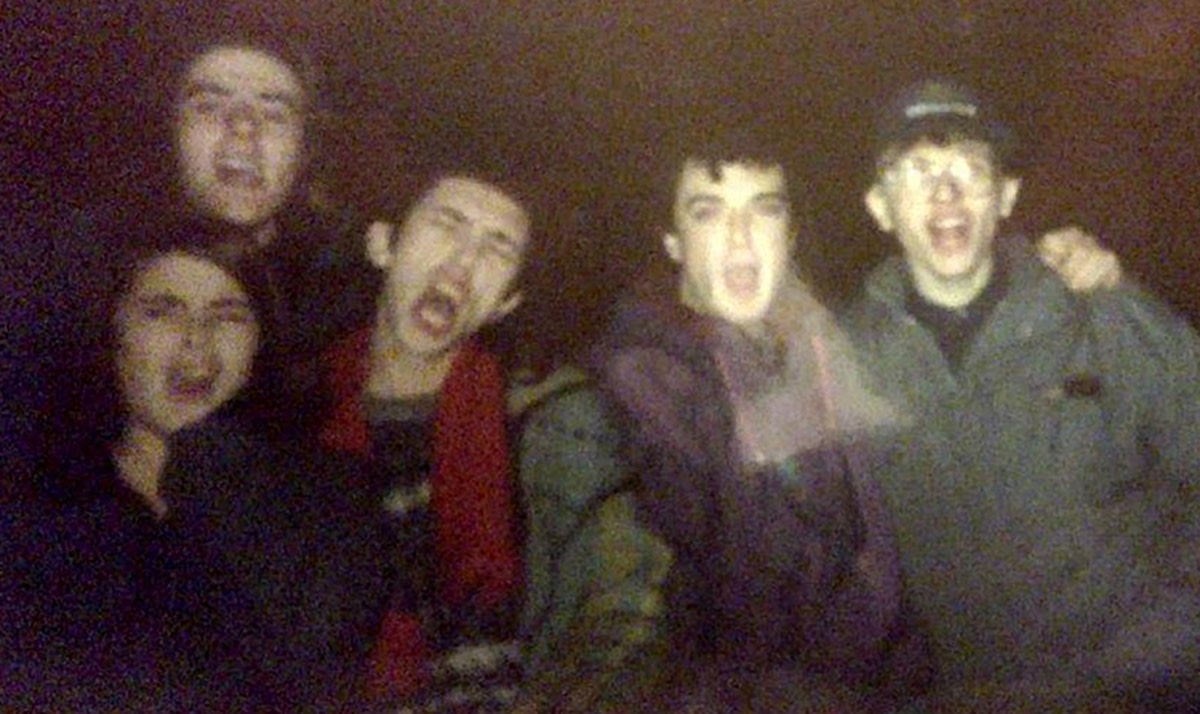 December 1991 - from left, Carol, Carl (Bollie), Carl's brother Lee and our other friend Lee from Blackburn. I am unsure who the guy at the back, on the left, is.