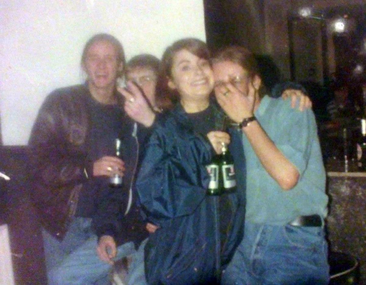 Carol in Minstrels, Blackburn, with Nicky (on the left) and Marcus on the right (1991).