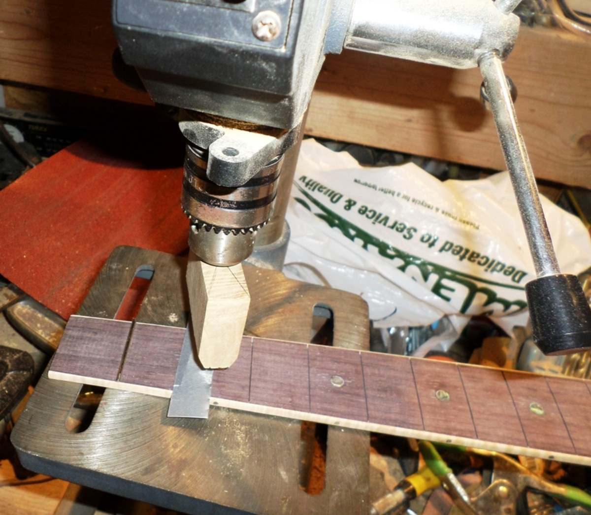 Pressing with a drill press.