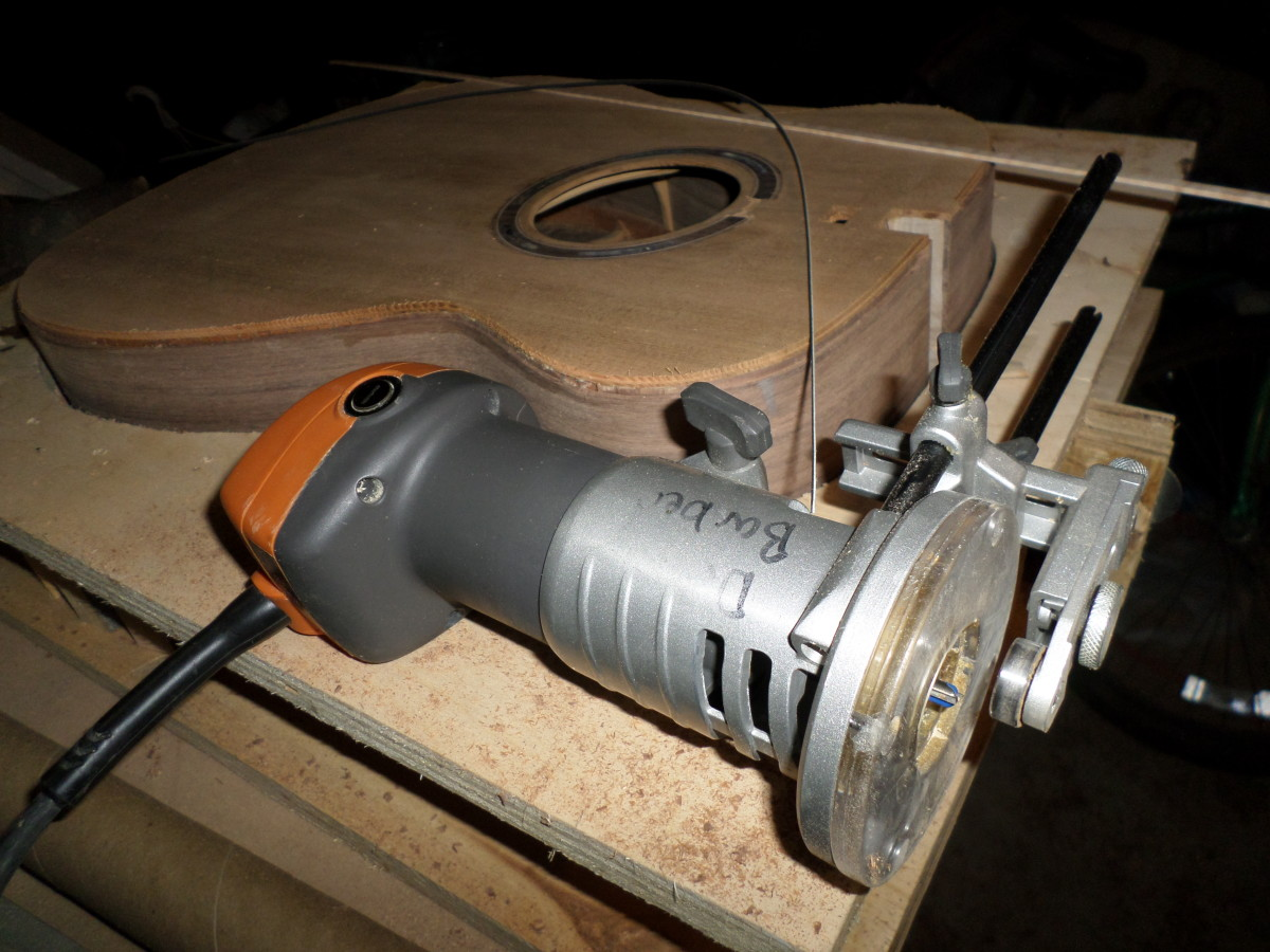 Using a lamiante trim router.