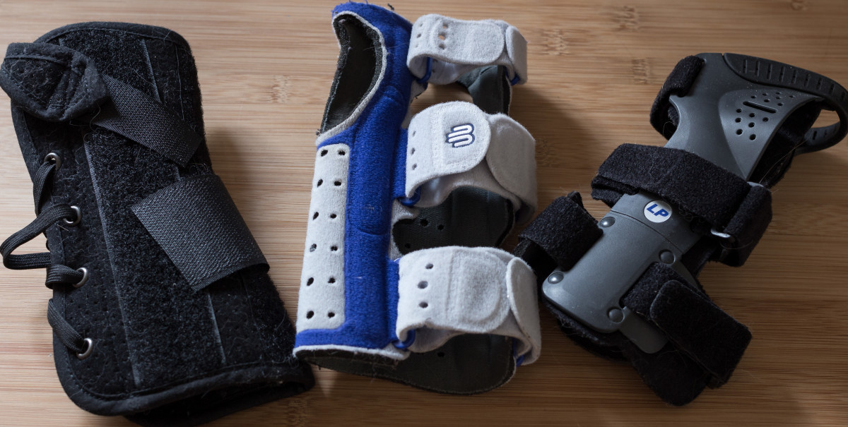 My wrist braces, left to right: in winter and for general use, the original and for gym and summer, water aerobics.
